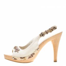 Dior White Canvas And Python Trim Slingback Sandals Size 37.5 186185