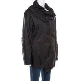 Jil Sander Black Neck Tie Detail Padded Zip Front Jacket XL 185674
