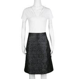 Alexander McQueen Black Embossed Rose Pattern Jacquard Half Pleated Skirt M 185757