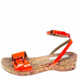Stella McCartney Neon Orange Faux Leather Linda Ankle Strap Flat Sandals Size 35