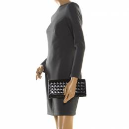 MICHAEL Michael Kors Black Woven Leather Newburry Clutch