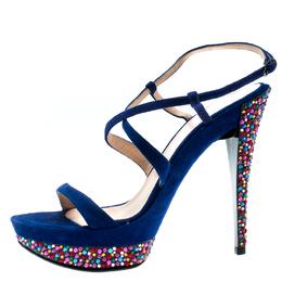 Casadei Royal Blue Suede Crystal Embellished Heel Ankle Wrap Platform Sandals Size 36.5 185357