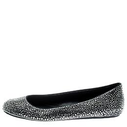 Le Silla Black Suede Crystal Embellished Ballet Flats Size 41 187011