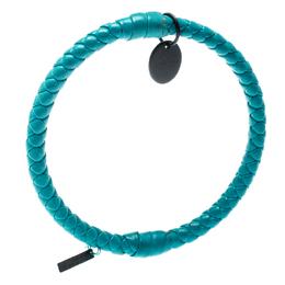 Bottega Veneta Blue Intrecciato Woven Leather Bangle Bracelet M