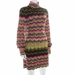 M Missoni Multicolor Chevron Pattered Perforated Knit Cutout Back Detail Dress M 186943