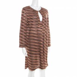 M Missoni Peach and Black Lurex Knit Long Sleeve Tunic Dress L 187190