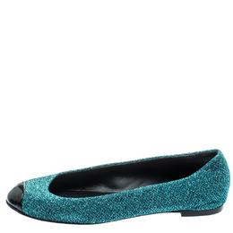 Giuseppe Zanotti Design Blue Lurex Fabric And Patent Leather Cap Toe Ballet Flats Size 36