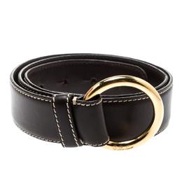 Loro Piana Brown Leather Stitched Belt 85CM 192989