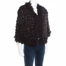 Chanel Black and Silver Perforated Crochet Knit Fringed Cropped Jacket M 193422