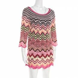 Missoni Multicolor Perforated Patterned Knit Tunic M 193885