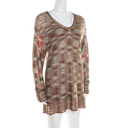 Missoni Multicolor Lurex Knit Long Sleeve Tunic Dress M