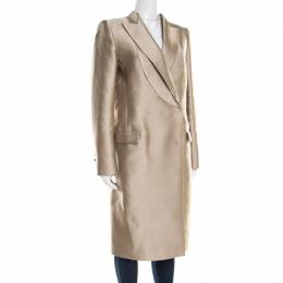 Gianfranco Ferre Beige Satin Double Breasted Dress Coat M