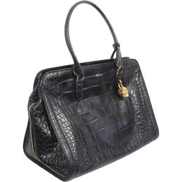 Alexander McQueen Black Croc-Effect Leather Tote Bag 188720