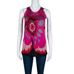 M Missoni Pink Graphic Floral Print Sleeveless Top M 139919