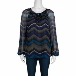 Diane Von Furstenberg Multicolor Printed Silk Tie Detail Saylor Blouse M 135326