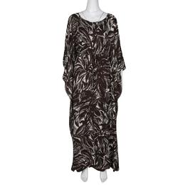 Tory Burch Brown and White Printed Silk Tie Detail Kaftan S 136574