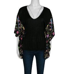 Cavalli Class Black Knit and Floral Print Kaftan Style Top M Roberto Cavalli Class 138006