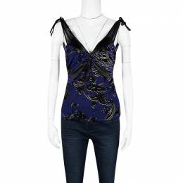 Just Cavalli Purple and Black Knit Ruched Sleeveless Crop Top S 126246