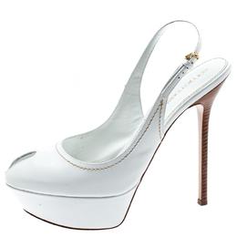 Sergio Rossi White Cachet Peep Toe Platform Slingback Sandals Size 39.5