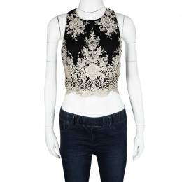 Alice + Olivia Black Floral Embroidered Mesh Tru Crop Top M 121387