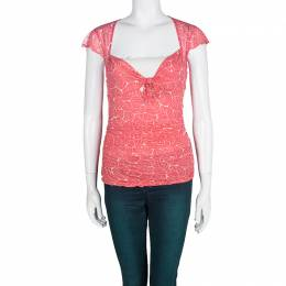 Diane Von Furstenberg Pink Abstract Print Silk Ruched Tommy Top M 102462