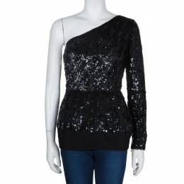 Elie Saab Black Sequin Embellished One Shoulder Top S 60461