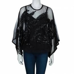 Elie Saab Black Mesh Overlay Sequin Embellished Top M 60456