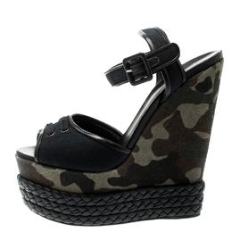 Giuseppe Zanotti Design Black Canvas And Leather Camouflage Platform Wedge Sandals Size 40
