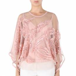 Elie Saab Pink Semi-Sheer Embroidered Top M 8114