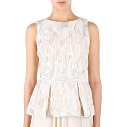 Elie Saab White Embroidered Sleeveless Top M 8481