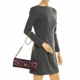 Dolce&Gabbana Purple Leopard Print Calfhair Chain Clutch