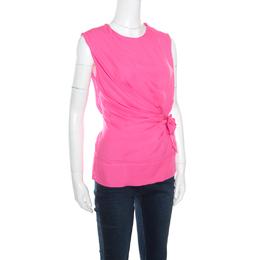 Diane Von Furstenberg Pink Silk Draped Front Tie Detail Sleeveless Grandie Top S 161223