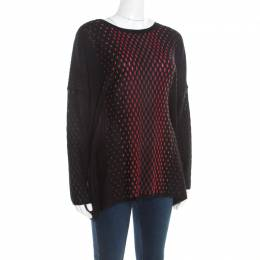 M Missoni Black Patterned Dobby Knit Boxy Sweater Top M