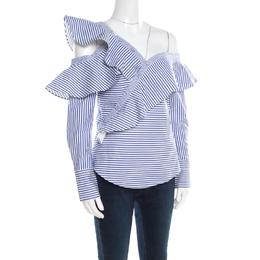 Self-portrait Blue and White Striped Ruffle Detail Off Shoulder Asymmetric Shirt S 195748
