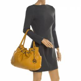MICHAEL Michael Kors Yellow Leather Drawstring Shoulder Bag