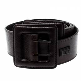 Gianfranco Ferre Dark Brown Leather Double Buckle Waist Belt 90CM