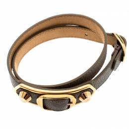 Balenciaga Grey Leather Metallic Edge Gold Tone Double Wrap Bracelet