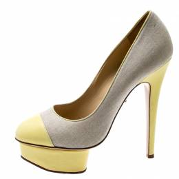 Charlotte Olympia Yellow Leather And Beige Canvas Dolly Platform Pumps Size 37.5