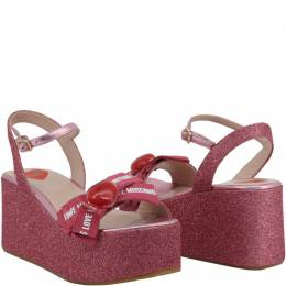 Love Moschino Pink Glitter Fabric Ankle Strap Platform Wedge Sandals Size 39