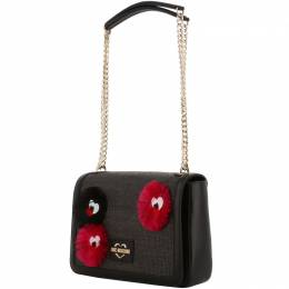 Love Moschino Black Fabric Applique Chain Shoulder Bag