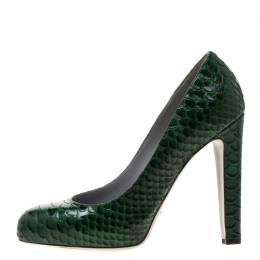 Sergio Rossi Green Python Leather Platform Pumps Size 40 197079