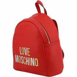Love Moschino Red Faux Leather Applique Backpack