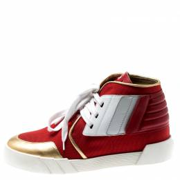 Giuseppe Zanotti Design Red Canvas And Tricolor Leather Foxy London High Top Sneakers Size 41