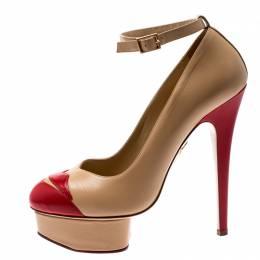 Charlotte Olympia Beige Leather Kiss Me Dolores Lips Appliquè Ankle Strap Platform Pumps Size 38
