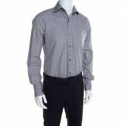Tom Ford Brown and White Plaid Checked Cotton Long Sleeve Shirt M