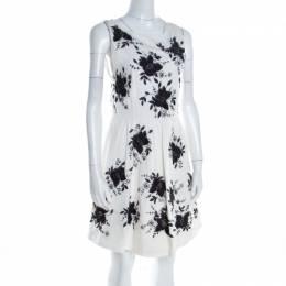 Alice + Olivia Monochrome Floral Sequined Silk Sleeveless Lillyanne Dress M