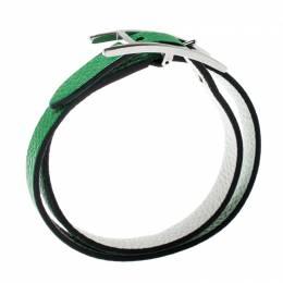 Hermes Behapi Green and White Leather Reversible Double Tour Bracelet XS 199050