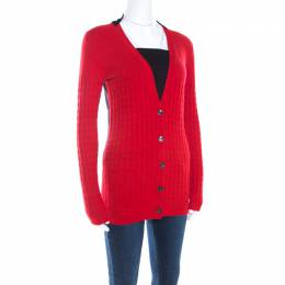 Just Cavalli Bicolor Textured Knit Wool Button Front Cardigan XS 198884
