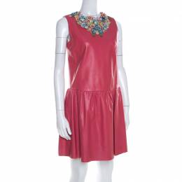 Red Valentino Pink Lambskin Leather Floral Applique Sleeveless Dress M 198476