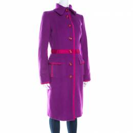 GF Ferre Purple Wool Button Front Long Coat S Gianfranco Ferre